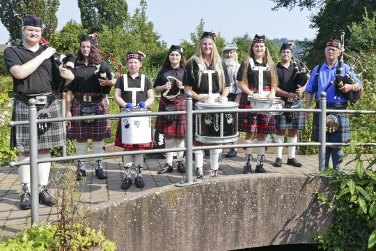 Happy German Bagpipers