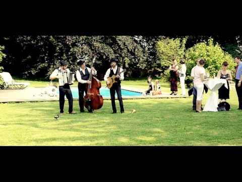 Video: Mobile Band auf der Hochzeit - Trio mit Kontrabass, Akkordeon und Gitarre - Gypsy-Swing und Musette im Garten