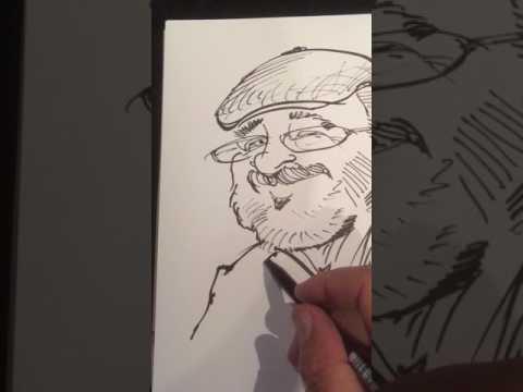 Video: Live Zeichnung einer Karikatur LEONARDO Karikaturist & Schnellzeichner für Firmenfeste und Messen in Basel Zürich Bern Frankfurt
